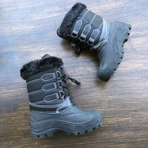 Girls Rain Snow Boots Lace Tall Winter Waterproof